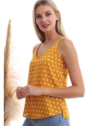Cottonmood 20333453 Kobe Puantiye Desenli Ip Askılı Bluz Hardal Hardal